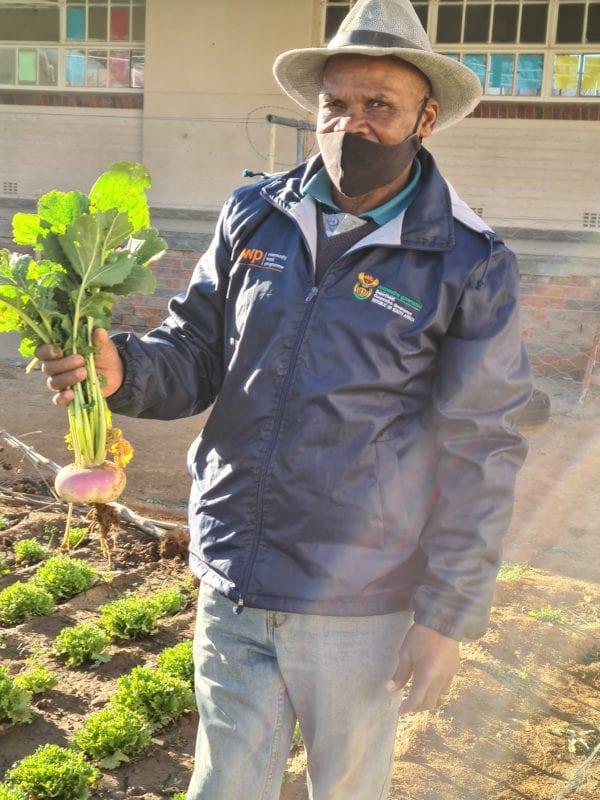 Titus Plaaitjies with beetroot from his vegetable garden.